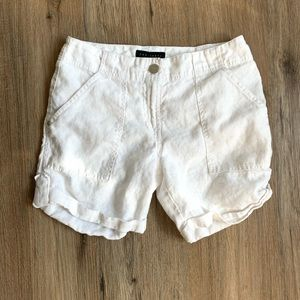 Sanctuary Cuffed White Linen Shorts